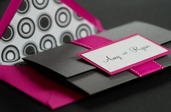 Convite de casamento rosa e pink