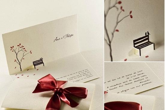 Convite de casamento com lacinho marrom