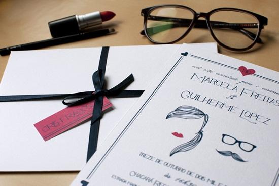 Caricatura convite de casamento