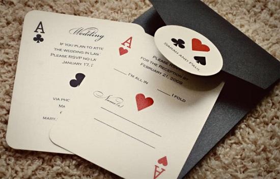 Convite lindo de casamento carta de baralho