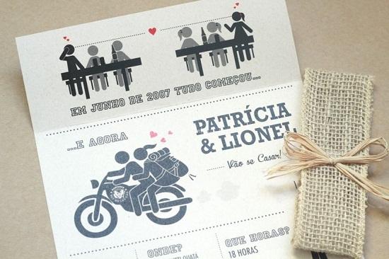 Convite de casamento delicado e engraçado