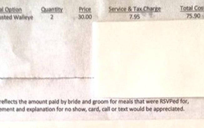 O boleto foi com o menu impresso para justificar o valor da cobrança (Foto: Divulgação)