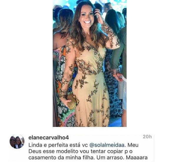 Vestido de festa usado por Solange que arrancou elogio de mãe da noiva (Foto: Divulgação)