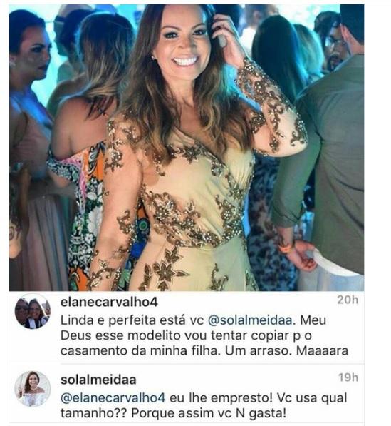 Vocalista do Aviões do Forró empresta vestido de festa para mãe de noiva que a segue no Instagram